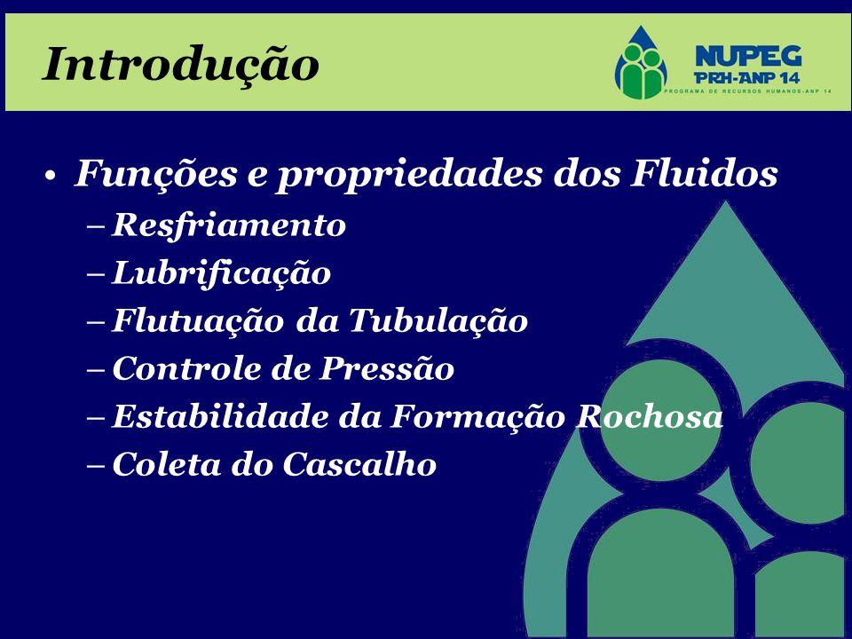Introdução •Funções e propriedades dos Fluidos –Resfriamento –Lubrificação –Flutuação da Tubulação –Controle de Pressão –Estabilidade da Formação Roch
