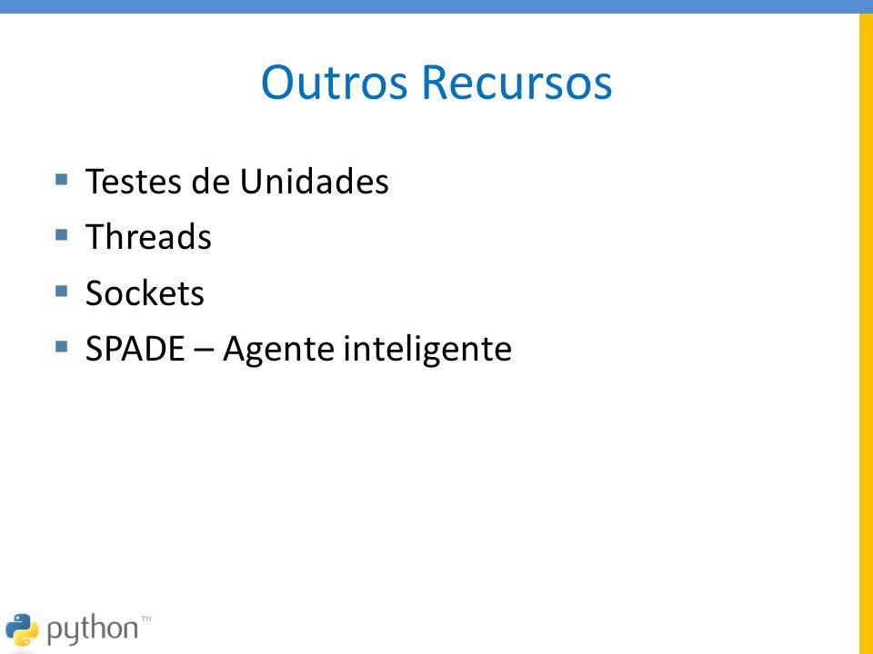 Outros Recursos  Testes de Unidades  Threads  Sockets  SPADE – Agente inteligente