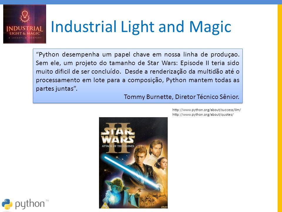 """Industrial Light and Magic """"Python desempenha um papel chave em nossa linha de produçao. Sem ele, um projeto do tamanho de Star Wars: Episode II teria"""