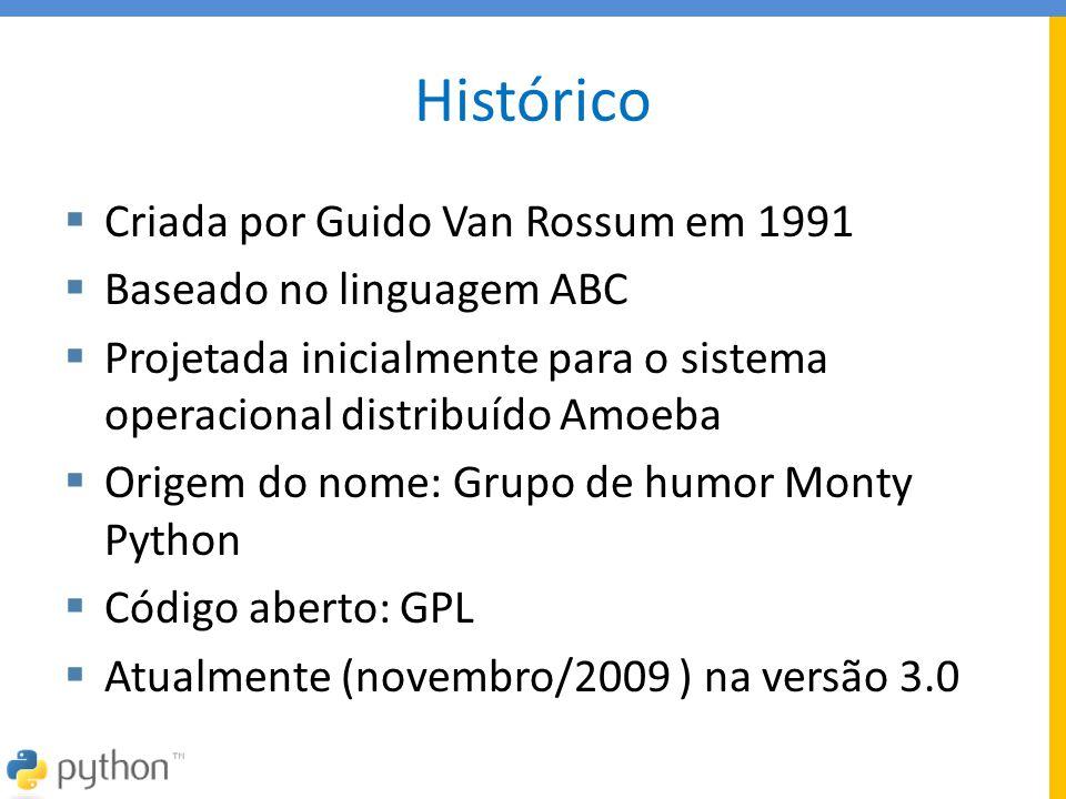 Histórico  Criada por Guido Van Rossum em 1991  Baseado no linguagem ABC  Projetada inicialmente para o sistema operacional distribuído Amoeba  Or