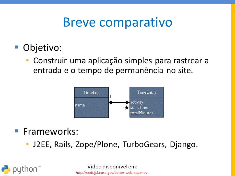 Breve comparativo  Objetivo: • Construir uma aplicação simples para rastrear a entrada e o tempo de permanência no site.  Frameworks: • J2EE, Rails,