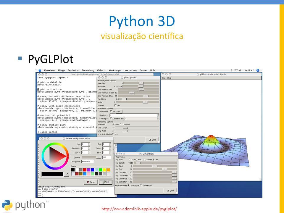 Python 3D visualização científica  PyGLPlot http://www.dominik-epple.de/pyglplot/