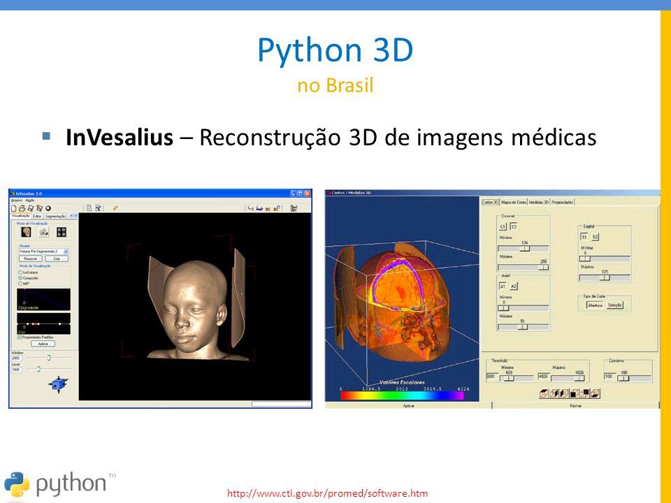 Python 3D no Brasil  InVesalius – Reconstrução 3D de imagens médicas http://www.cti.gov.br/promed/software.htm