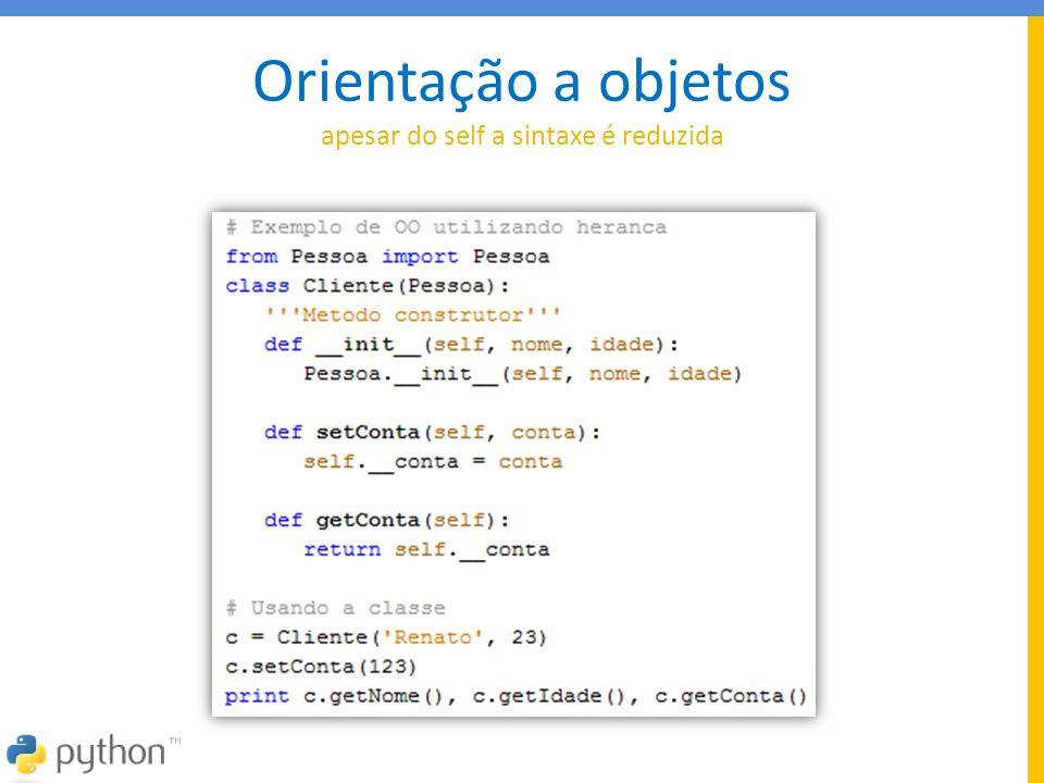 Características Funcionais Lambda: função sem nome Map: aplica uma função a cada item de uma lista Reduce: faz um somatório de uma lista Filter: aplica uma condição em cada item da lista Zip: agrupa elementos entre listas Saída 9 Lambda.: 27 MAP....: [1, 8, 27, 64, 125] REDUCE.: 24 Filter.: [3, 4, 5, 6, 7, 8, 9] Zip....: [(1, 4, 7), (2, 5, 8)]