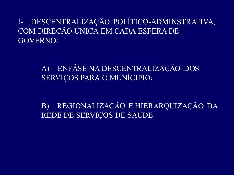 I- DESCENTRALIZAÇÃO POLÍTICO-ADMINSTRATIVA, COM DIREÇÃO ÚNICA EM CADA ESFERA DE GOVERNO: A) ENFÂSE NA DESCENTRALIZAÇÃO DOS SERVIÇOS PARA O MUNÍCIPIO;