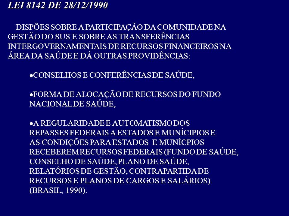 LEI 8142 DE 28/12/1990 DISPÕES SOBRE A PARTICIPAÇÃO DA COMUNIDADE NA GESTÃO DO SUS E SOBRE AS TRANSFERÊNCIAS INTERGOVERNAMENTAIS DE RECURSOS FINANCEIR