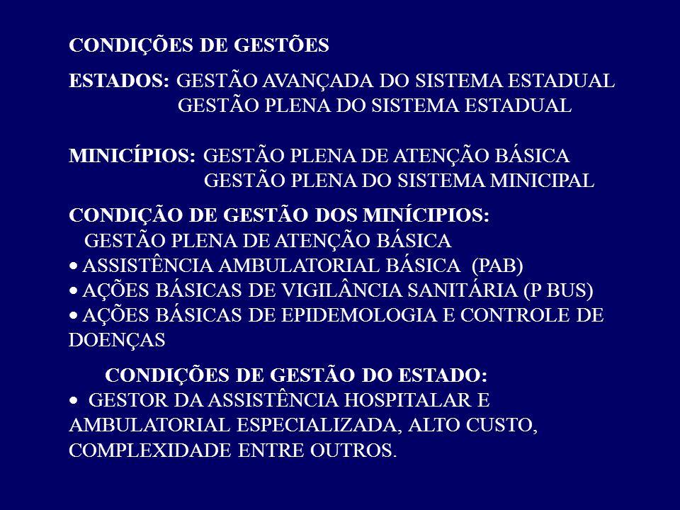 CONDIÇÕES DE GESTÕES ESTADOS: GESTÃO AVANÇADA DO SISTEMA ESTADUAL GESTÃO PLENA DO SISTEMA ESTADUAL MINICÍPIOS: GESTÃO PLENA DE ATENÇÃO BÁSICA GESTÃO P
