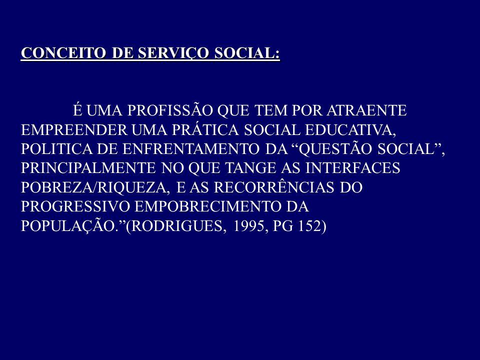 """CONCEITO DE SERVIÇO SOCIAL: É UMA PROFISSÃO QUE TEM POR ATRAENTE EMPREENDER UMA PRÁTICA SOCIAL EDUCATIVA, POLITICA DE ENFRENTAMENTO DA """"QUESTÃO SOCIAL"""