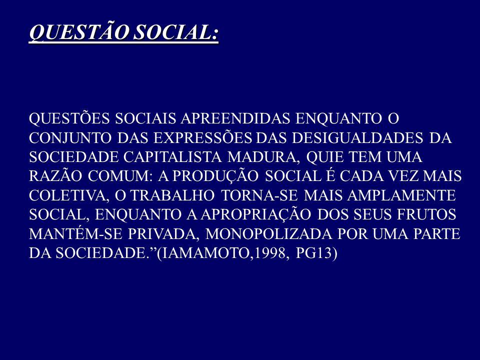 QUESTÃO SOCIAL: QUESTÕES SOCIAIS APREENDIDAS ENQUANTO O CONJUNTO DAS EXPRESSÕES DAS DESIGUALDADES DA SOCIEDADE CAPITALISTA MADURA, QUIE TEM UMA RAZÃO