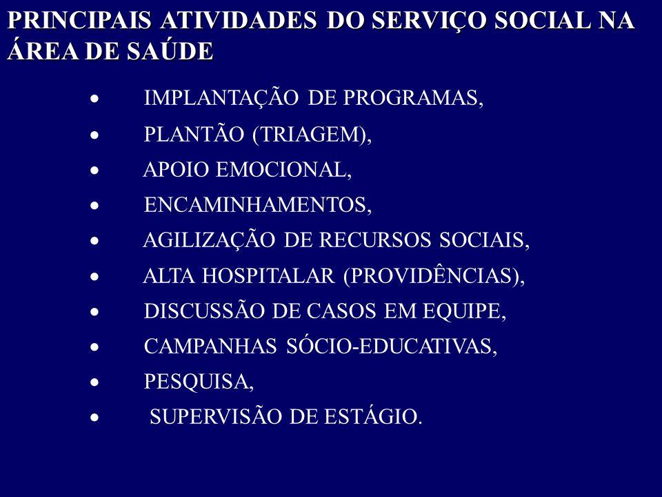 PRINCIPAIS ATIVIDADES DO SERVIÇO SOCIAL NA ÁREA DE SAÚDE  IMPLANTAÇÃO DE PROGRAMAS,  PLANTÃO (TRIAGEM),  APOIO EMOCIONAL,  ENCAMINHAMENTOS,  AGIL