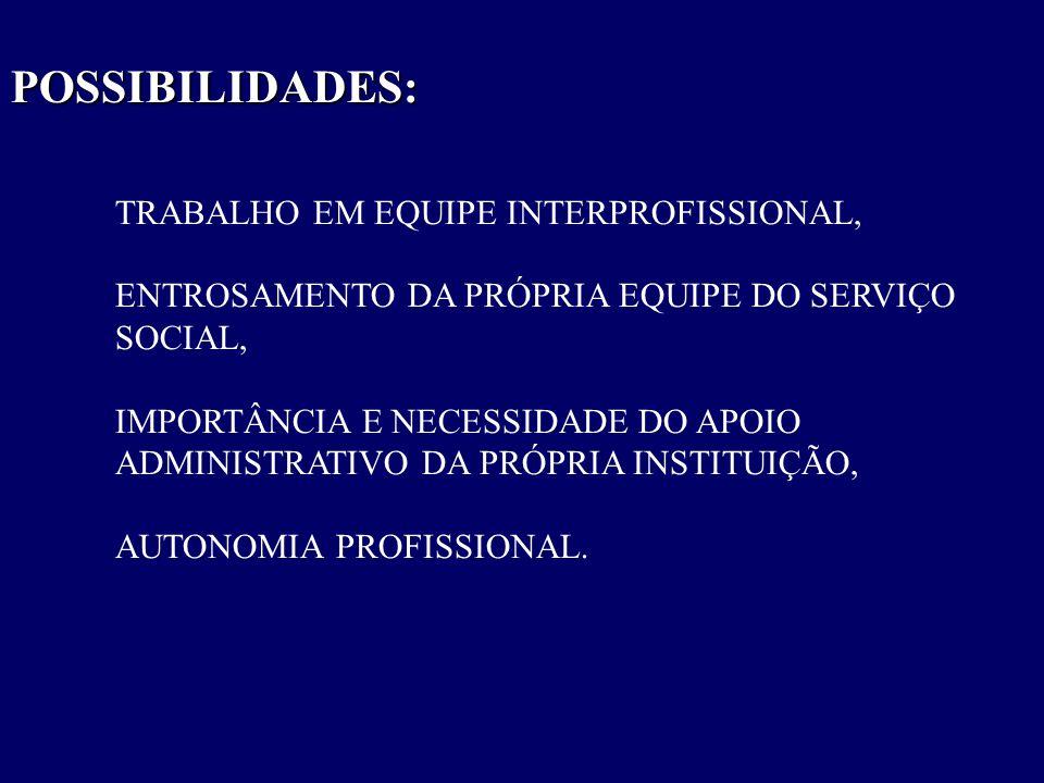 POSSIBILIDADES: TRABALHO EM EQUIPE INTERPROFISSIONAL, ENTROSAMENTO DA PRÓPRIA EQUIPE DO SERVIÇO SOCIAL, IMPORTÂNCIA E NECESSIDADE DO APOIO ADMINISTRAT