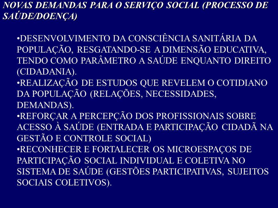NOVAS DEMANDAS PARA O SERVIÇO SOCIAL (PROCESSO DE SAÚDE/DOENÇA) •DESENVOLVIMENTO DA CONSCIÊNCIA SANITÁRIA DA POPULAÇÃO, RESGATANDO-SE A DIMENSÃO EDUCA