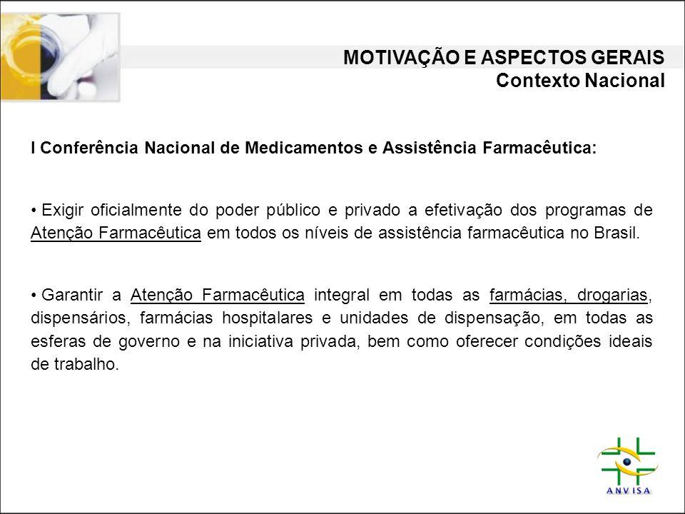 I Conferência Nacional de Medicamentos e Assistência Farmacêutica: • Exigir oficialmente do poder público e privado a efetivação dos programas de Aten