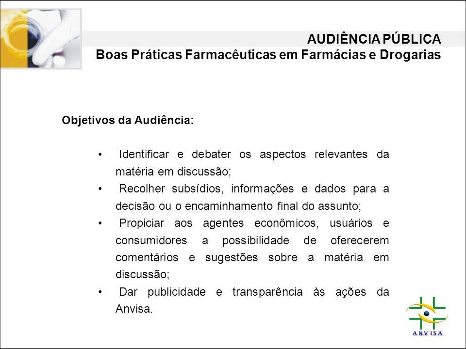 AUDIÊNCIA PÚBLICA Boas Práticas Farmacêuticas em Farmácias e Drogarias Objetivos da Audiência: • Identificar e debater os aspectos relevantes da matér
