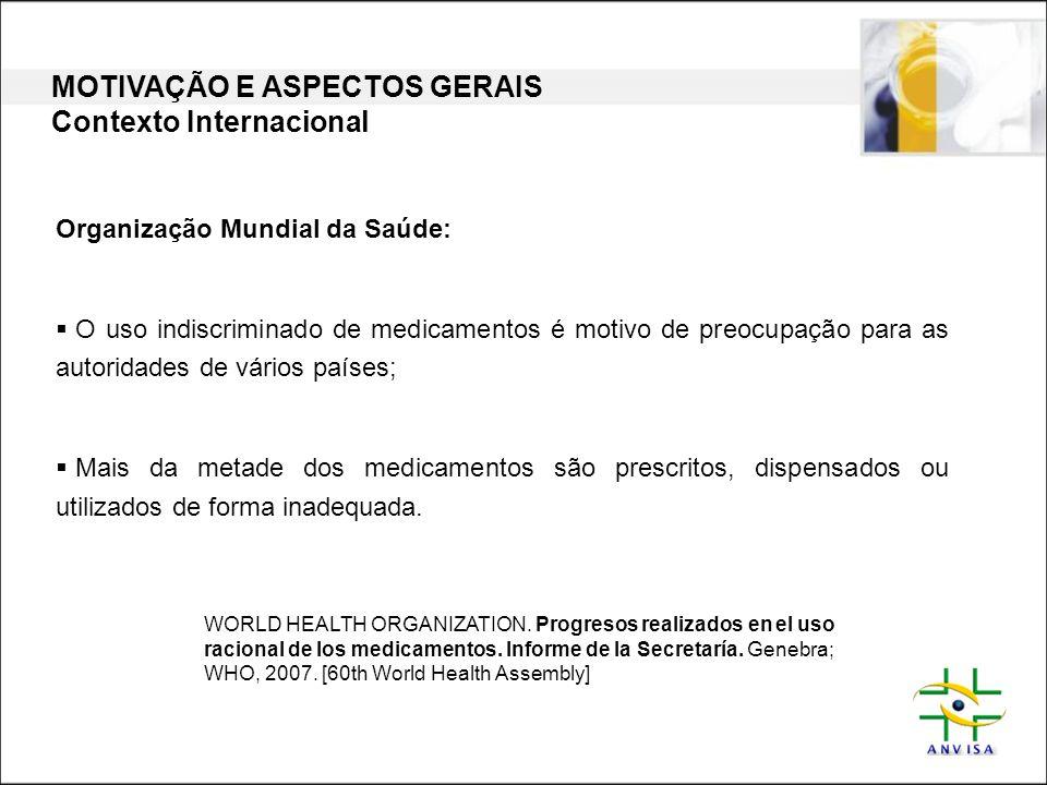 Organização Mundial da Saúde:  O uso indiscriminado de medicamentos é motivo de preocupação para as autoridades de vários países;  Mais da metade do
