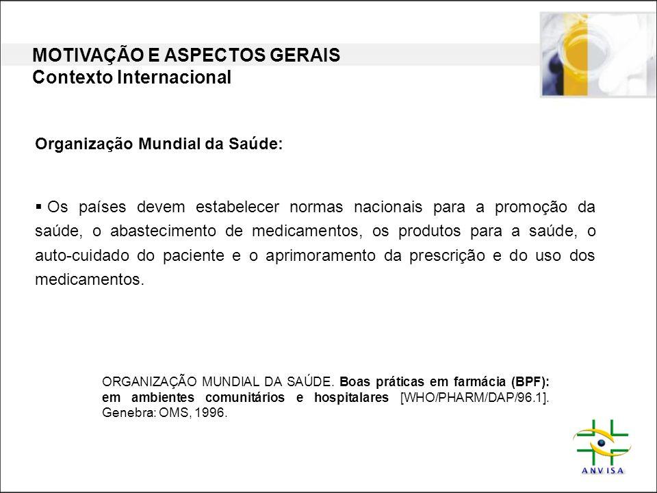 MOTIVAÇÃO E ASPECTOS GERAIS Contexto Nacional CPI DE MEDICAMENTOS: RECOMENDAÇÕES (2000) POLÍTICAS DE SAÚDE POLÍTICA NACIONAL DE MEDICAMENTOS (1998) POLÍTICA NACIONAL DE ASSISTÊNCIA FARMACÊUTICA (2004) PLANO NACIONAL DE SAÚDE (2004) I CONFERÊNCIA NACIONAL DE ASSIST.