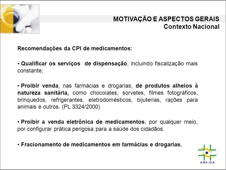 MOTIVAÇÃO E ASPECTOS GERAIS Contexto Nacional Recomendações da CPI de medicamentos: • Qualificar os serviços de dispensação, incluindo fiscalização ma