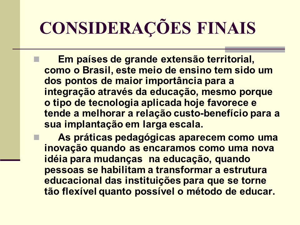 CONSIDERAÇÕES FINAIS  Em países de grande extensão territorial, como o Brasil, este meio de ensino tem sido um dos pontos de maior importância para a