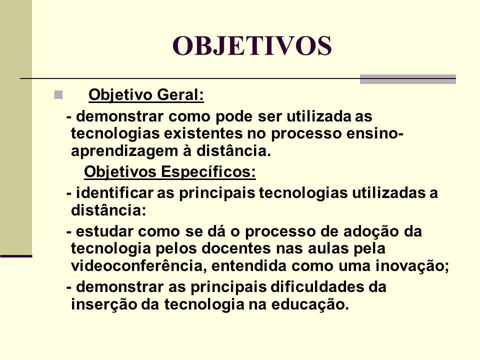 OBJETIVOS  Objetivo Geral: - demonstrar como pode ser utilizada as tecnologias existentes no processo ensino- aprendizagem à distância. Objetivos Esp