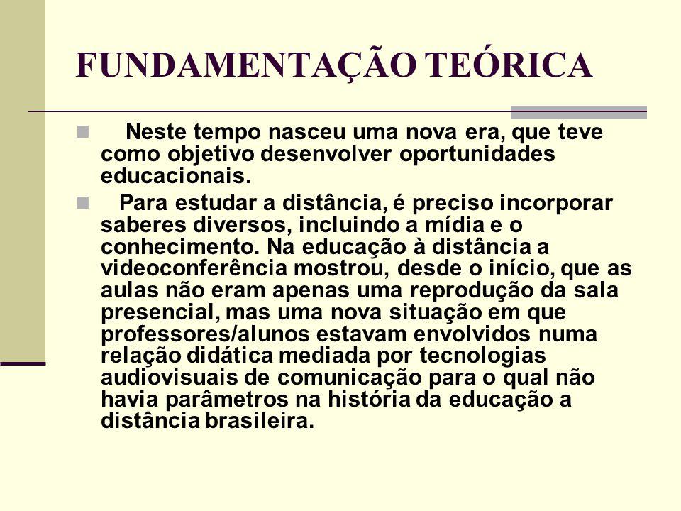 FUNDAMENTAÇÃO TEÓRICA  Na Educação à Distância, o professor sai de uma posição de origem exclusiva da informação, para uma outra em que se torna uma das várias fontes disponíveis (BEAUDOIN, 1990).