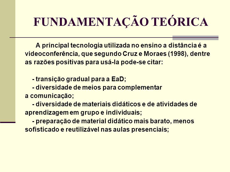 FUNDAMENTAÇÃO TEÓRICA A principal tecnologia utilizada no ensino a distância é a videoconferência, que segundo Cruz e Moraes (1998), dentre as razões