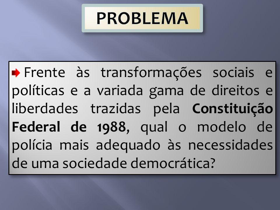 Frente às transformações sociais e políticas e a variada gama de direitos e liberdades trazidas pela Constituição Federal de 1988, qual o modelo de polícia mais adequado às necessidades de uma sociedade democrática?