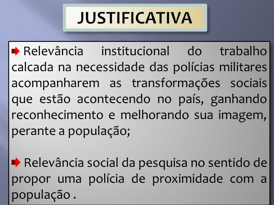 Relevância institucional do trabalho calcada na necessidade das polícias militares acompanharem as transformações sociais que estão acontecendo no paí