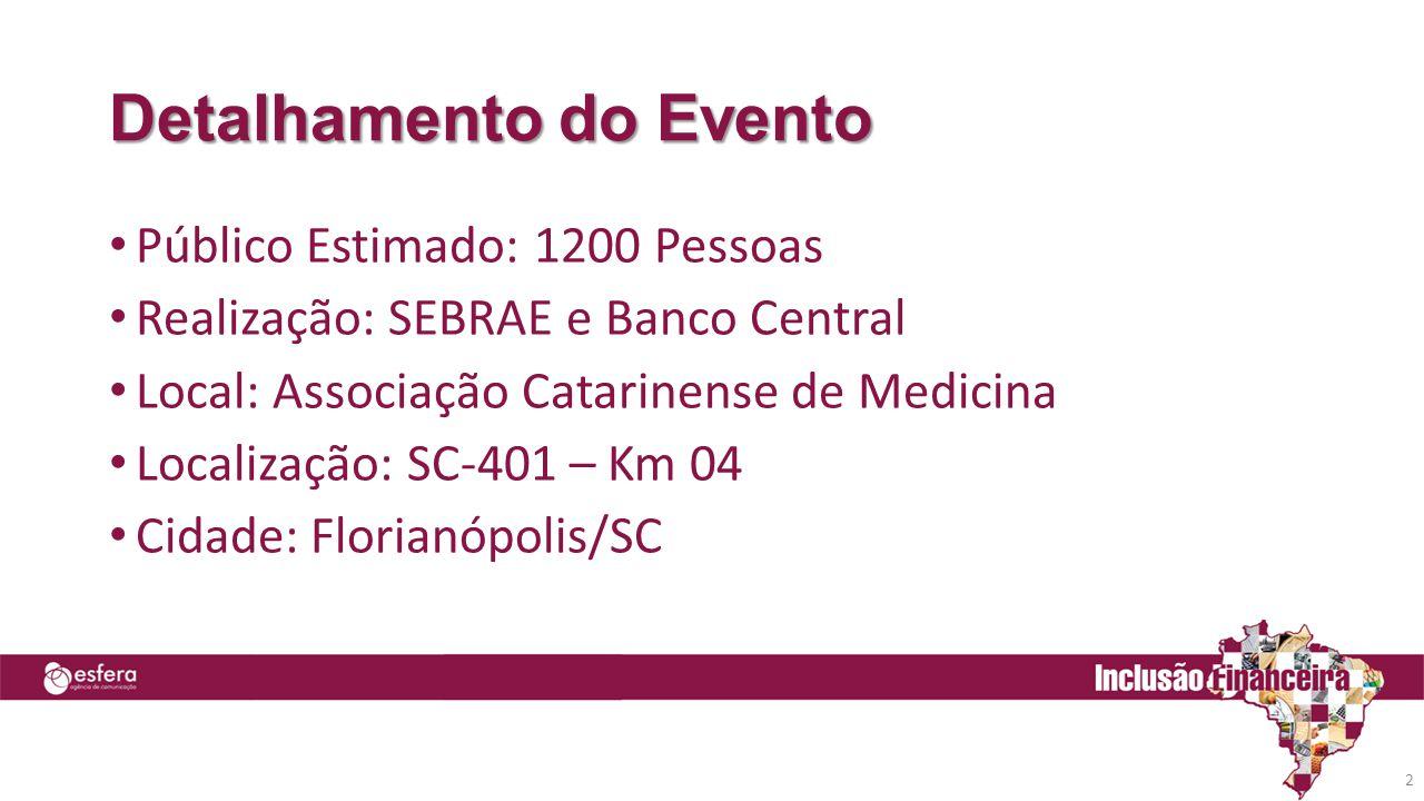 Detalhamento do Evento • Público Estimado: 1200 Pessoas • Realização: SEBRAE e Banco Central • Local: Associação Catarinense de Medicina • Localização