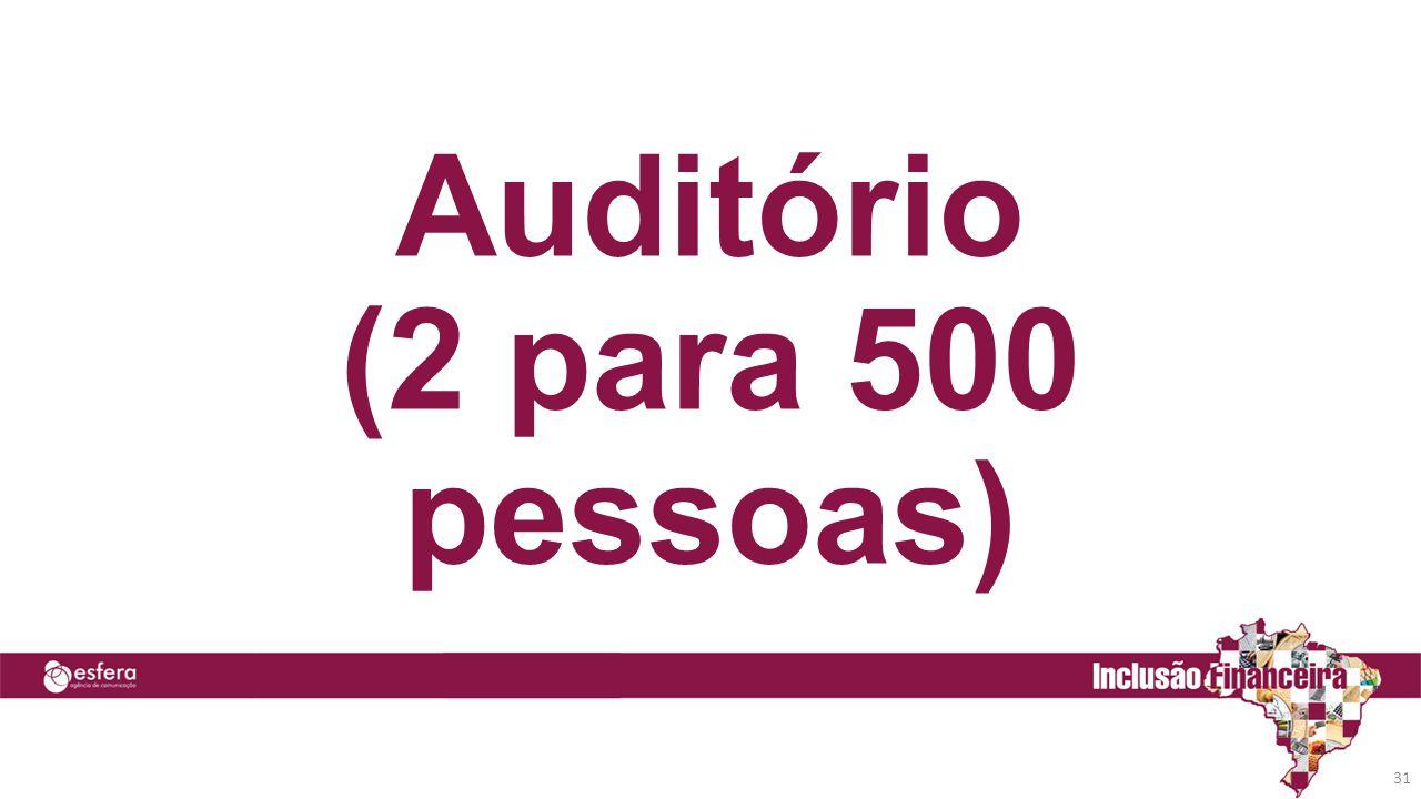 31 Auditório (2 para 500 pessoas)
