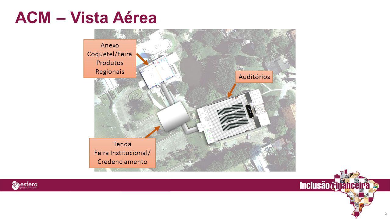 ACM – Vista Aérea 5 Auditórios Anexo Coquetel/Feira Produtos Regionais Tenda Feira Institucional/ Credenciamento