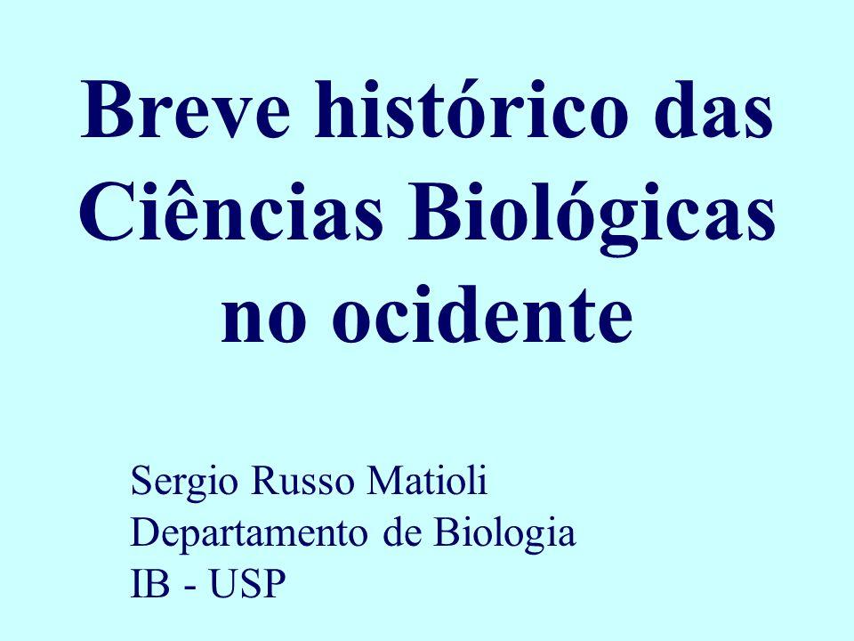 Breve histórico das Ciências Biológicas no ocidente Sergio Russo Matioli Departamento de Biologia IB - USP
