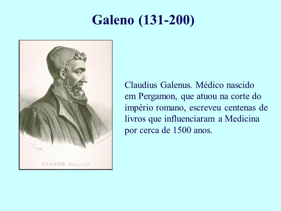 Galeno (131-200) Claudius Galenus. Médico nascido em Pergamon, que atuou na corte do império romano, escreveu centenas de livros que influenciaram a M