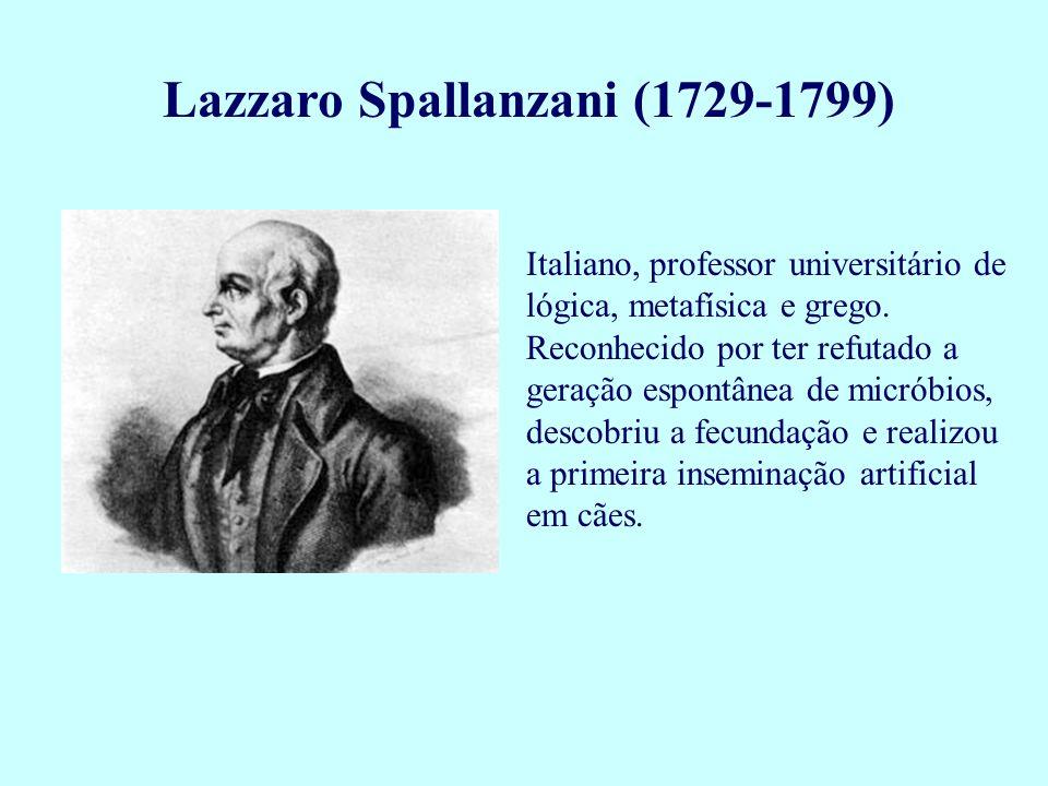 Lazzaro Spallanzani (1729-1799) Italiano, professor universitário de lógica, metafísica e grego. Reconhecido por ter refutado a geração espontânea de