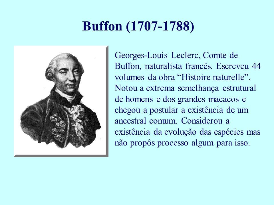 "Buffon (1707-1788) Georges-Louis Leclerc, Comte de Buffon, naturalista francês. Escreveu 44 volumes da obra ""Histoire naturelle"". Notou a extrema seme"