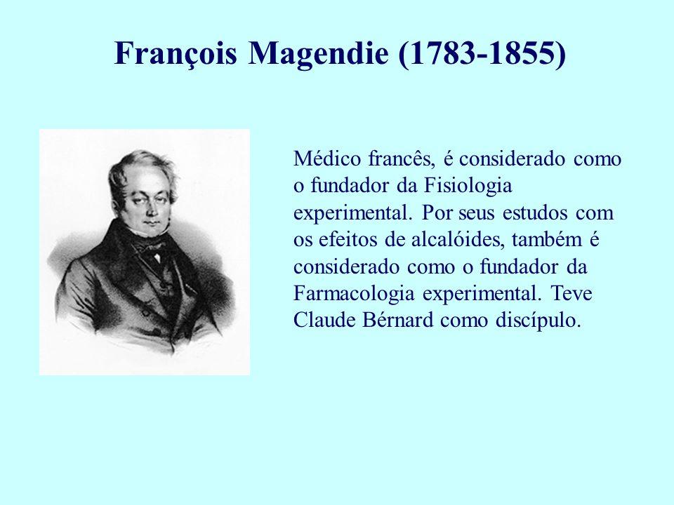 François Magendie (1783-1855) Médico francês, é considerado como o fundador da Fisiologia experimental. Por seus estudos com os efeitos de alcalóides,