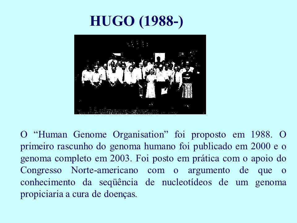 """HUGO (1988-) O """"Human Genome Organisation"""" foi proposto em 1988. O primeiro rascunho do genoma humano foi publicado em 2000 e o genoma completo em 200"""