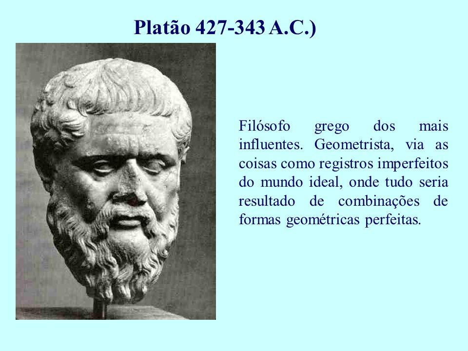 Platão 427-343 A.C.) Filósofo grego dos mais influentes. Geometrista, via as coisas como registros imperfeitos do mundo ideal, onde tudo seria resulta