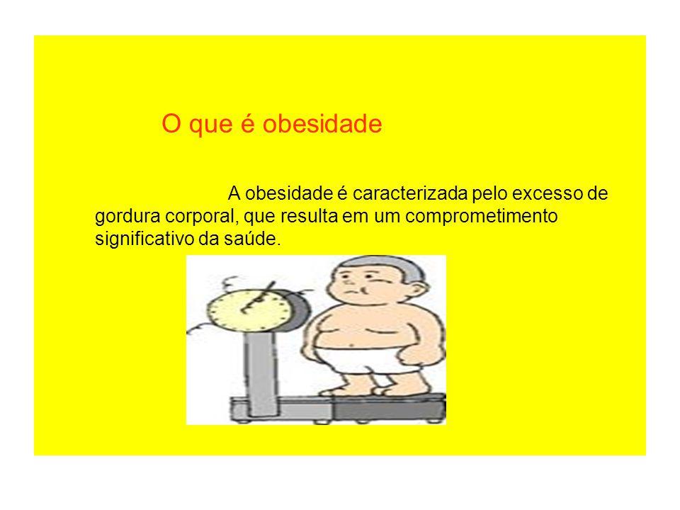 O que é obesidade A obesidade é caracterizada pelo excesso de gordura corporal, que resulta em um comprometimento significativo da saúde.