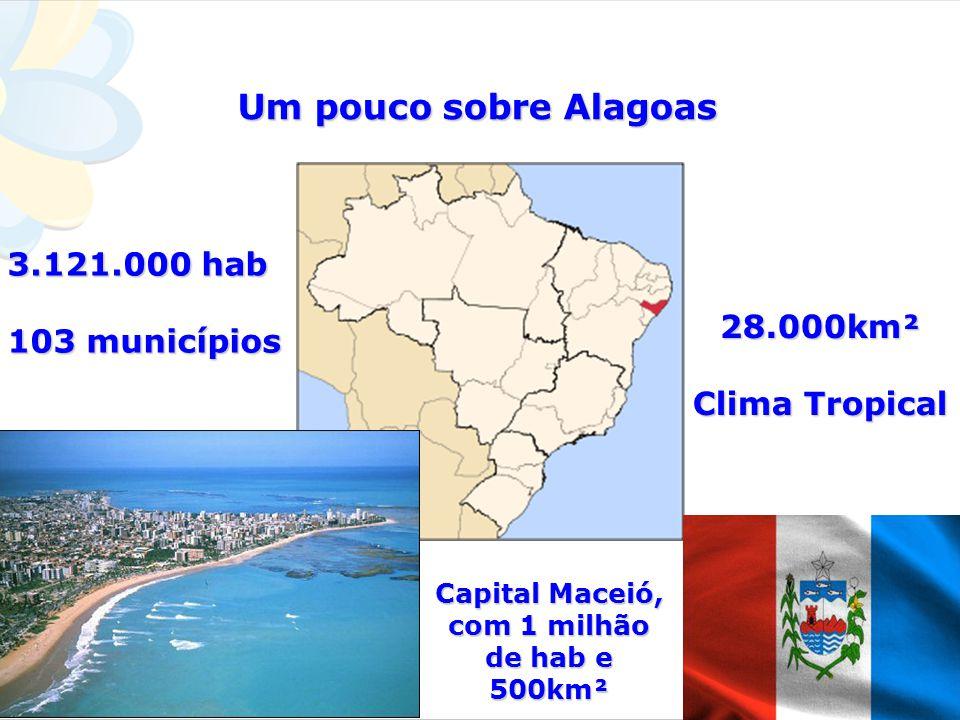 Um pouco sobre Alagoas Capital Maceió, com 1 milhão de hab e 500km² 3.121.000 hab 103 municípios 28.000km² Clima Tropical