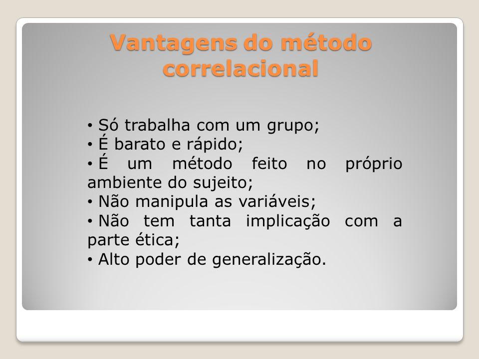 Desvantagens do método correlacional • Não há controle das variáveis espúrias; • Não verifica a relação causa e efeito; • Se interessa apenas pela correlação.
