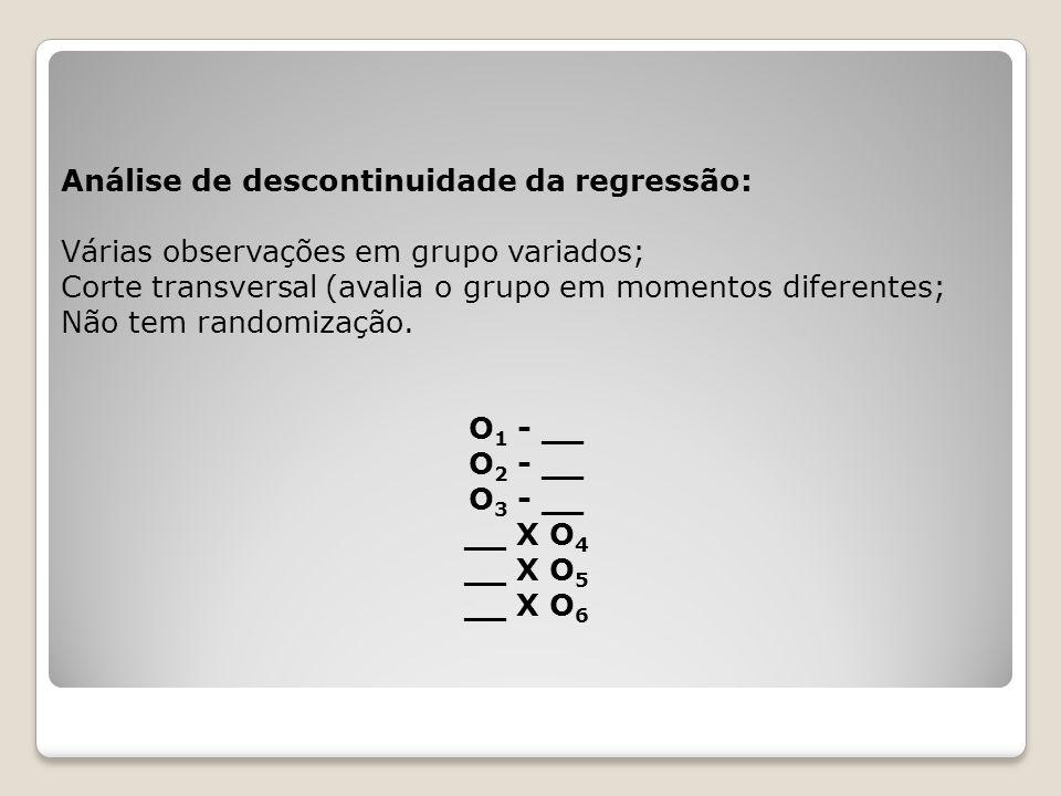 Pré e pós-teste com GC e não aleatorização: Possui 2 grupos diferentes; Não há randomização; Faz uma avaliação antes e depois da VI A maior limitação: não há randomização do GC GE O 1 X O 3 GC O 2 - O 4