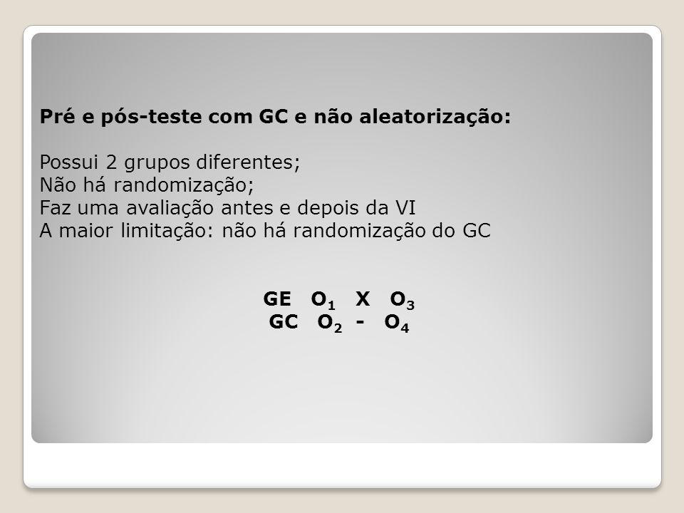 Tipos de planos experimentais puros: Plano pós-teste e GC: como não tinha medidas antes, não se sabe se os grupos eram iguais.