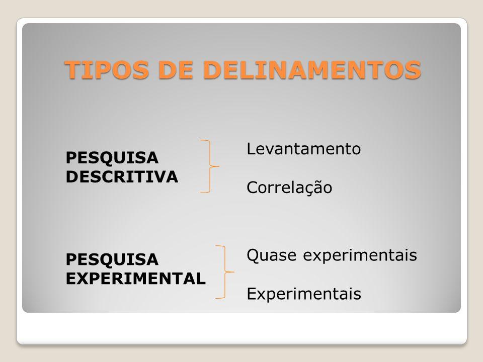DELINEAMENTO DE LEVANTAMENTO É o tipo mais simples de pesquisa, já que visa identificar quais variáveis constituem uma determinada realidade.