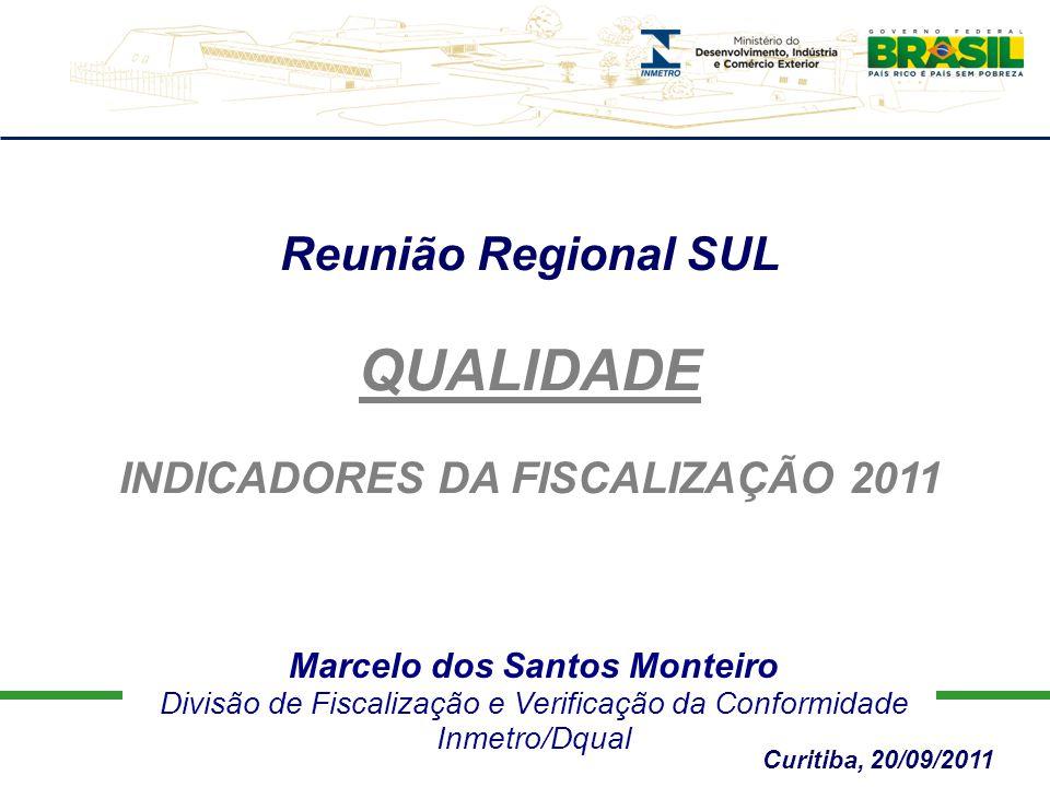 Marcelo dos Santos Monteiro Divisão de Fiscalização e Verificação da Conformidade Inmetro/Dqual Reunião Regional SUL QUALIDADE INDICADORES DA FISCALIZAÇÃO 2011 Curitiba, 20/09/2011