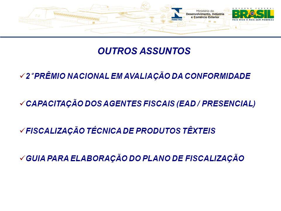 OUTROS ASSUNTOS  2° PRÊMIO NACIONAL EM AVALIAÇÃO DA CONFORMIDADE  CAPACITAÇÃO DOS AGENTES FISCAIS (EAD / PRESENCIAL)  FISCALIZAÇÃO TÉCNICA DE PRODUTOS TÊXTEIS  GUIA PARA ELABORAÇÃO DO PLANO DE FISCALIZAÇÃO