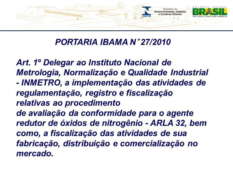 PORTARIA IBAMA N° 27/2010 Art. 1º Delegar ao Instituto Nacional de Metrologia, Normalização e Qualidade Industrial - INMETRO, a implementação das ativ