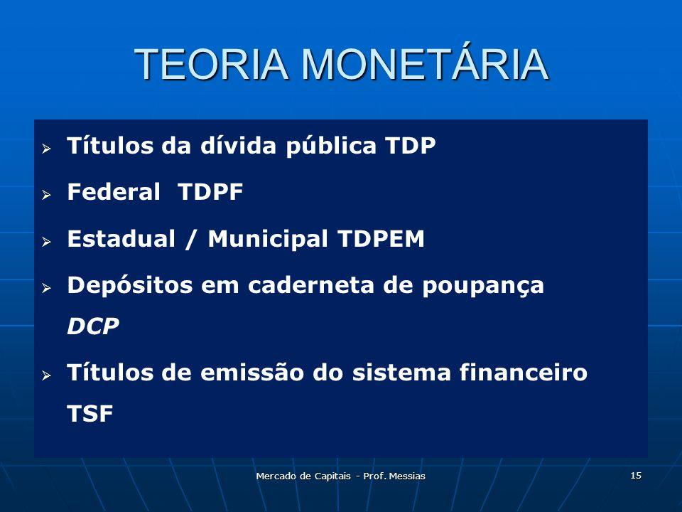 TEORIA MONETÁRIA   Títulos da dívida pública TDP   Federal TDPF   Estadual / Municipal TDPEM   Depósitos em caderneta de poupança DCP   Títulos de emissão do sistema financeiro TSF 15 Mercado de Capitais - Prof.