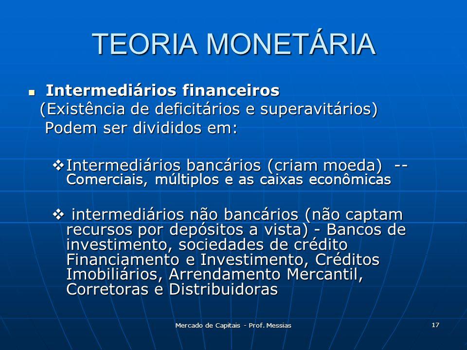 TEORIA MONETÁRIA  Intermediários financeiros (Existência de deficitários e superavitários) (Existência de deficitários e superavitários) Podem ser divididos em: Podem ser divididos em:  Intermediários bancários (criam moeda) -- Comerciais, múltiplos e as caixas econômicas  intermediários não bancários (não captam recursos por depósitos a vista) - Bancos de investimento, sociedades de crédito Financiamento e Investimento, Créditos Imobiliários, Arrendamento Mercantil, Corretoras e Distribuidoras 17 Mercado de Capitais - Prof.