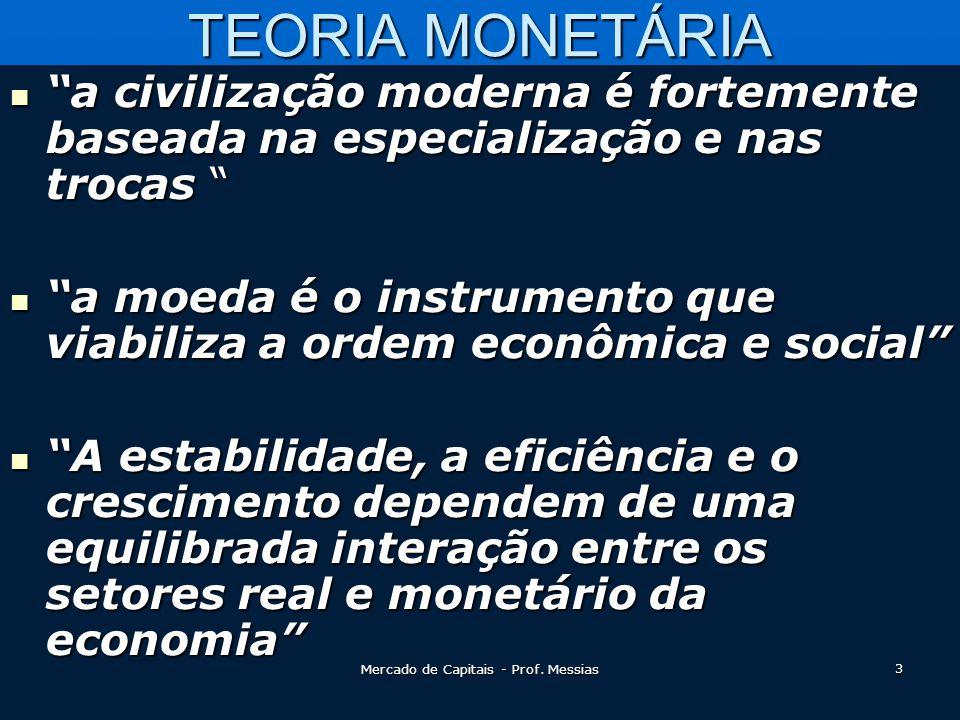 TEORIA MONETÁRIA  a civilização moderna é fortemente baseada na especialização e nas trocas  a moeda é o instrumento que viabiliza a ordem econômica e social  A estabilidade, a eficiência e o crescimento dependem de uma equilibrada interação entre os setores real e monetário da economia 3 Mercado de Capitais - Prof.