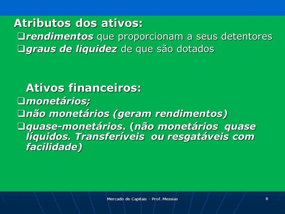 Atributos dos ativos:  rendimentos que proporcionam a seus detentores  graus de liquidez de que são dotados Ativos financeiros: Ativos financeiros:  monetários;  não monetários (geram rendimentos)  quase-monetários.